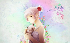 Picture flowers, kitty, pattern, girl, white hair, sundress