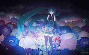 Picture flowers, Girl, petals, tie, outfit, vocaloid, Vocaloid, ribbons, tails