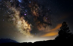 Picture space, stars, night, space, the milky way, silhouettes