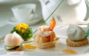 Picture serving, dumplings, Shrimp