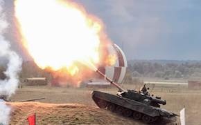 Picture fire, tank, Shot, combat, T-80 HAVE, Main