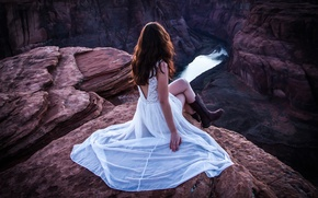 Picture girl, river, view, height, gorge, River Throne