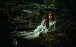 Picture girl, stream, dress, the beauty, Ariel, TJ Drysdale