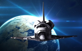 Picture spaceship, planet, Space Shuttle Discovery