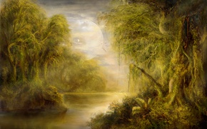 Wallpaper trees, landscape, river, thickets, planet, art