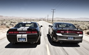 Picture the sky, coupe, sedan, Dodge, rear view, dodge, challenger, charger, srt8, the charger, Muscle car, …