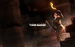 Picture bow, torch, Tomb Raider, cave, Lara Croft, Rise of the Tomb Raider