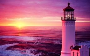Picture sea, wave, the sky, sunset, lighthouse, sky, sunset