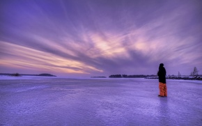 Picture ice, winter, the sky, landscape, lake, the evening, guy, Sweden, lilac