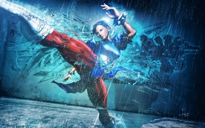 Picture metal, girl, rain, style, blue, fight, street fighter, chun li, kick