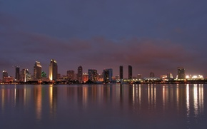 Picture city, lights, water, buildings