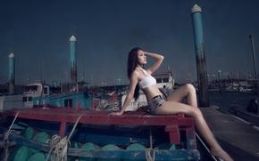 Picture girl, night, Marina, Asian
