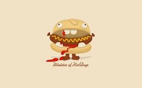 Picture minimalism, humor, hot dog, cartoon