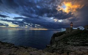 Picture sea, the sky, clouds, sunset, coast, lighthouse, Bay, horizon, Portugal, Saint Vincent Lighthouse, Sagres bay