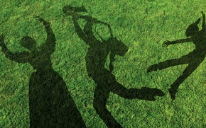 Picture grass, people, lawn, dance, shadows, musician
