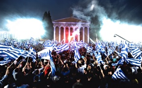 Picture Night, Greece, People, Flags, A lot, Rally