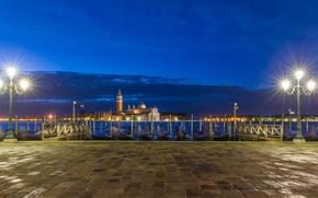 Picture night, boat, lights, Italy, Church, Venice, channel, gondola, San Giorgio Maggiore