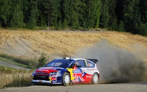 Picture Auto, Dust, Forest, Turn, Citroen, WRC, Rally, Competition