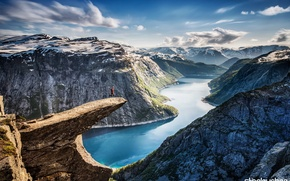 Picture Trolltunga, mountains, The Troll's Tongue, nature, Norway, panorama, river