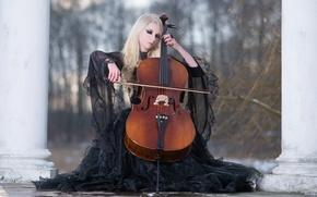 Picture Winter, Blonde, Violin, Black Dress, Maria Amanda, Stock, Winters Melody