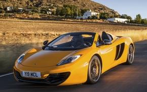 Picture road, McLaren, speed, supercar, Spyder, MP4-12C, orange, glow