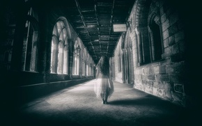 Picture castle, corridor, Ghost, girl, Alone