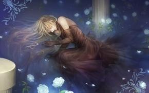 Picture water, rain, roses, Girl, columns, art, senano-yu