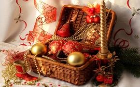 Wallpaper balls, candle, tape, beads, basket, red, boot, Christmas decorations, Christmas tree branch