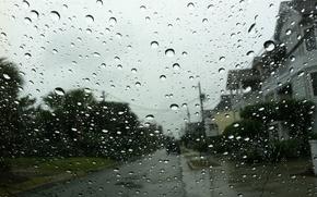Picture glass, drops, the city, rain, rainy day