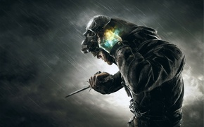Picture clouds, rain, the darkness, Dishonored, Corvo
