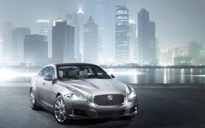 Picture the city, fog, river, Jaguar XJ