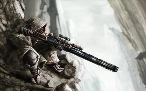 Picture rocks, wire, art, hood, sniper, rifle, sniper