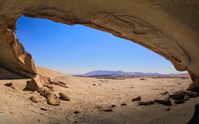 Picture sand, the sky, mountains, nature, cave, the grotto