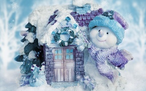 Picture snow, decoration, smile, background, mood, holiday, new year, house, snowman