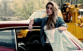Wallpaper girl, blonde, Amber Heard, drive angry, auto, the film