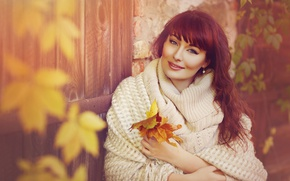 Picture autumn, leaves, girl, brown hair, shawl, sweater