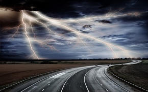 Wallpaper PLAIN, CATEGORY, FIELD, LIGHTNING, HORIZON, The SKY, CLOUDS, ROAD, TRACK
