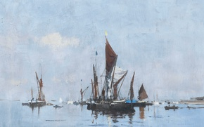 Wallpaper picture, seascape, Edward Seago, Barge in still Water