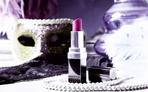 Picture background, widescreen, Wallpaper, necklace, lipstick, mask, pearl, beads, wallpaper, different, widescreen, cosmetics, background, full screen, …
