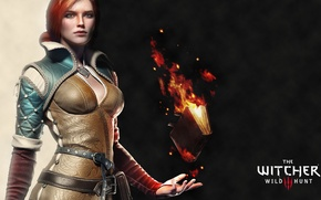 Picture girl, red, The Witcher, Triss Merigold, The Witcher 3: Wild Hunt, The Witcher 3: Wild …