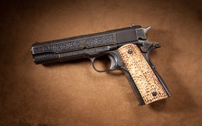 Wallpaper gold, line, Colt, inlay, M1911A1