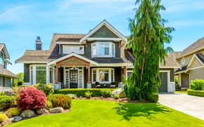 Picture flowers, lawn, the bushes, mansion, tree, house, greens, summer, the sun, grass, design