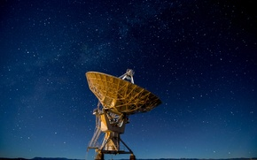 Picture space, stars, hills, antenna, silhouette, The Milky Way, New Mexico, United States, Very Large Array
