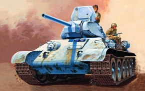 Picture war, art, painting, tank, ww2, T-34/76