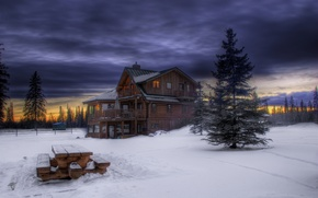 Wallpaper clouds, snow, tree, trees, table, wooden, house, twilight, the evening, Winter, the sky, forest, sunset