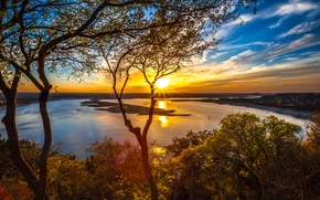 Picture the sky, the sun, clouds, trees, sunset, lake, USA, Austin, Texas, Lake Travis