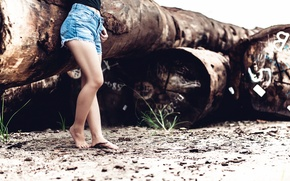 Picture girl, shorts, legs