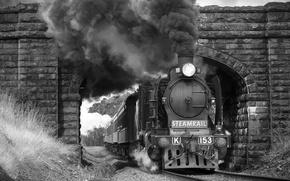 Picture bridge, smoke, the engine, Train, black and white