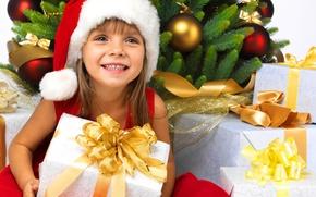 Wallpaper holiday, child, New year, Christmas balls