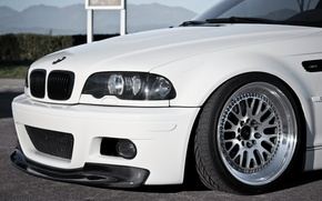 Picture white, BMW, headlight, wheel, BMW, white, E46